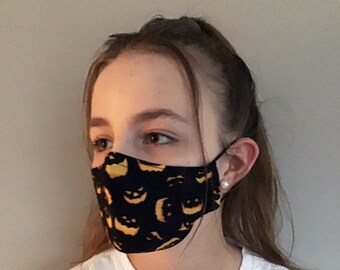 Halloween Face Mask, Pumpkin Halloween Mask, Jack O'Lantern Trick or Treat Black Face Mask, 3D Face Mask with Nose Wire