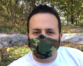 Camo Face Mask For Men - Green Camo - Green, Brown, Black Camouflage - Handmade - Filter Pocket