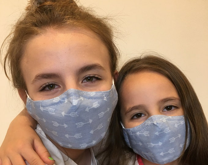 Face Mask For Kids Blue Arrow | Filter Pocket | Triple Layer | Polypropylene/Cotton | Washable