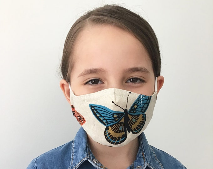 Butterfly Face Mask For Kids - White Canvas - Face Mask with Filter Pocket - Washable
