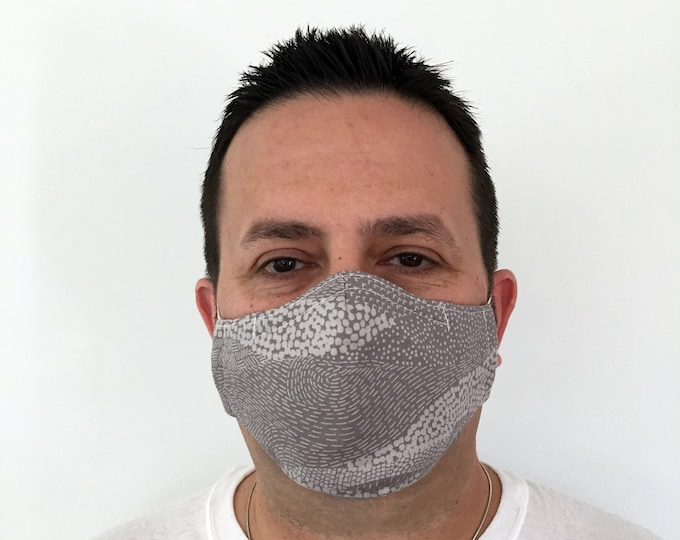 Light Gray Face Mask For Men - Earth Taupe - Handmade - Filter Pocket