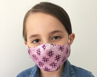 Pink Face Mask For Kids with Hashtags - Pink Face Mask Child - Handmade - Filter Pocket