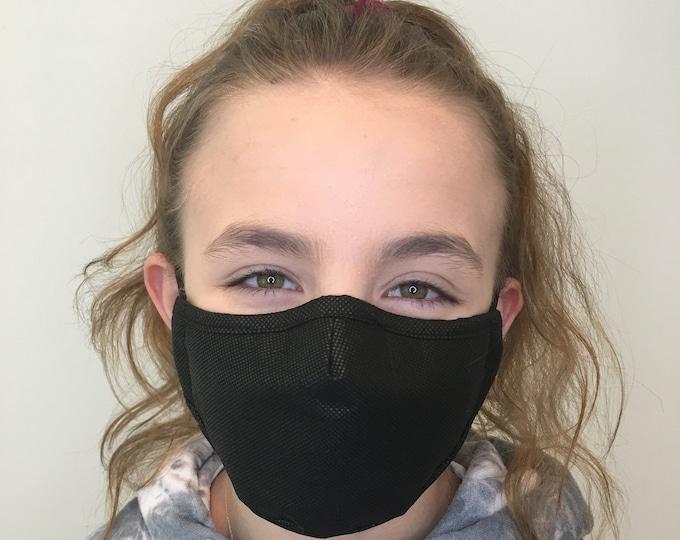 Premium Face Mask For Kids Black - Polypropylene Face Mask For Child - Filter Pocket - Triple Layer - Washable