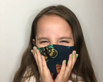 Butterfly Face Mask For Kids - Navy Blue Canvas - Face Mask with Filter Pocket - Washable