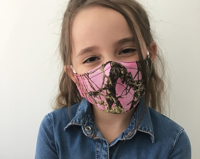 Camo Face Mask For Kids - Pink Camo - True Timber Camouflage - Handmade - Filter Pocket