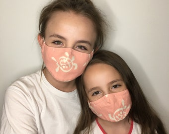 Face Mask For Kids Canvas Pink Turtle | Filter Pocket | Triple Layer | Polypropylene/Cotton | Washable
