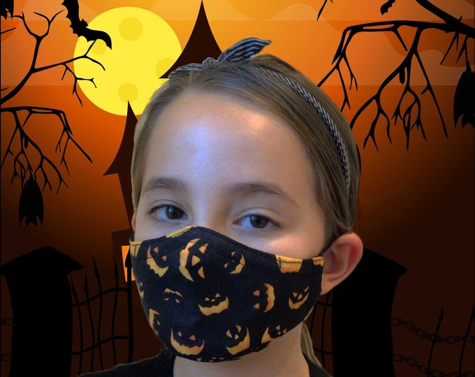 Halloween Face Mask, Halloween Child Mask, 3 Layer Washable Pumpkin Face Mask for Kids, Trick or Treat Kids Face Mask