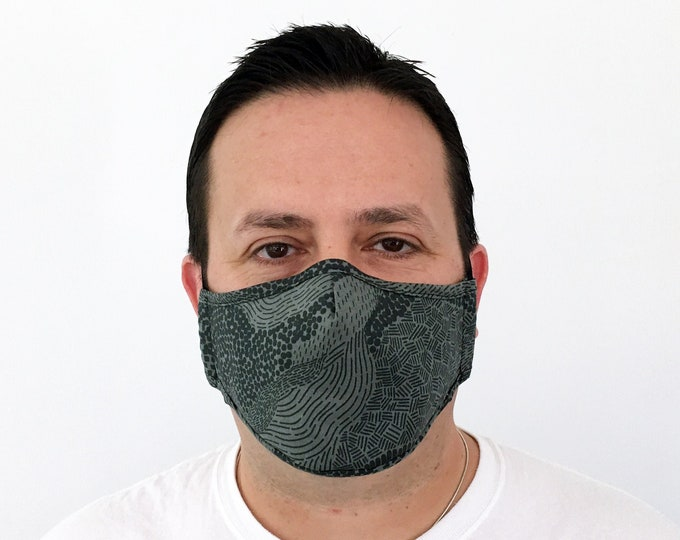 Olive Green Face Mask For Men - Filter Pocket - Washable - Premium Handmade Face Mask