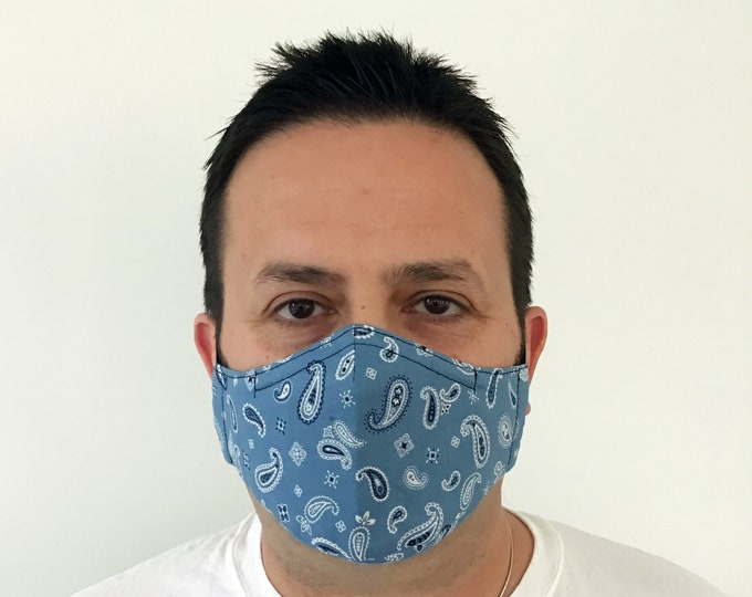 Blue Bandana Face Mask For Men - Paisley Blue Face Mask - Bandana Face Mask - Handmade - Filter Pocket