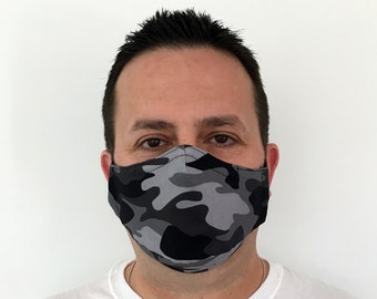 Camo Face Mask For Men - Black Camo - Black and Gray Camouflage - Handmade - Filter Pocket