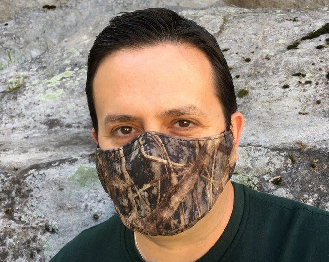 Camo Face Mask For Men - True Timber Conceal Brown - Handmade - Filter Pocket