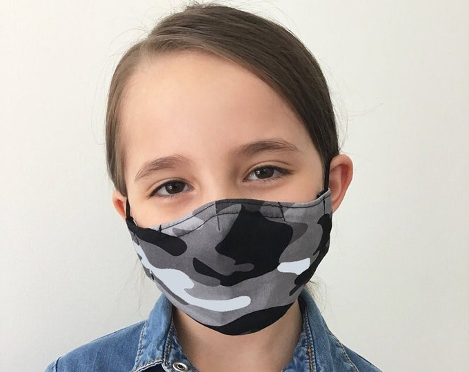Camo Face Mask For Kids - Black Camo - Black and Gray Camouflage - Handmade - Filter Pocket