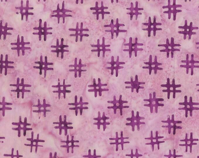Purple Pink # Hashtags Fabric, QE3 Miniatures: 412Q-2 Purple, Anthology Fabrics Quilt Essentials Batiks