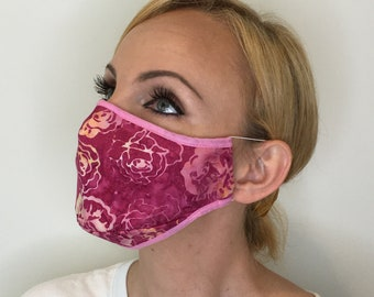 Premium Face Mask For Women Pink Roses | Filter Pocket | Triple Layer | Polypropylene/Cotton | Washable