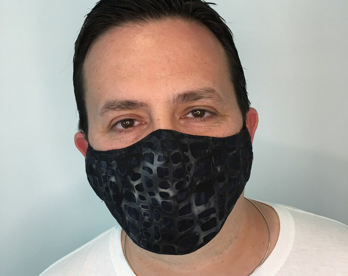 Mosaic Charcoal Face Mask For Men - Filter Pocket - Washable - Premium Handmade Face Mask