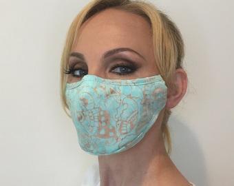 Premium Face Mask For Women Tribal Aqua | Filter Pocket | Triple Layer | Polypropylene/Cotton | Washable