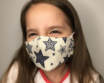Face Mask For Kids Canvas with Stars - Child Face Mask - Filter Pocket - Cotton - Washable