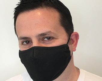 Black Face Mask For Men - Polypropylene Face Mask - Filter Pocket - Washable - Premium Handmade Face Mask
