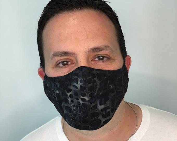 Mosaic Charcoal Face Mask For Men - Filter Pocket - Washable - Premium Handmade Face Mask