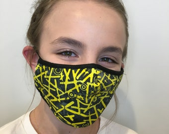 Premium Face Mask For Kids Yellow and Black   Filter Pocket   Triple Layer Polypropylene/Cotton   Washable