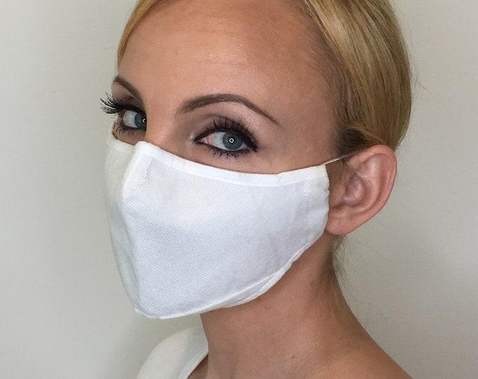 Premium Face Mask For Women White   Polypropylene Face Mask   Filter Pocket   Triple Layer   Washable