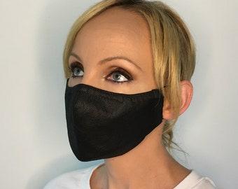 Face Mask For Women Black - Polypropylene Face Mask - Filter Pocket - Triple Layer - Cotton - Washable
