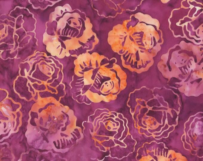 Anthology Batiks Roses Plum Art Inspired: Salon at the Rue des Moulins 252Q-4 Plum 100% Batik Cotton