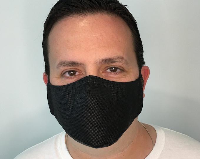 Black Face Mask For Men - Polypropylene Face Mask Filter Pocket - Washable - Handmade Face Mask