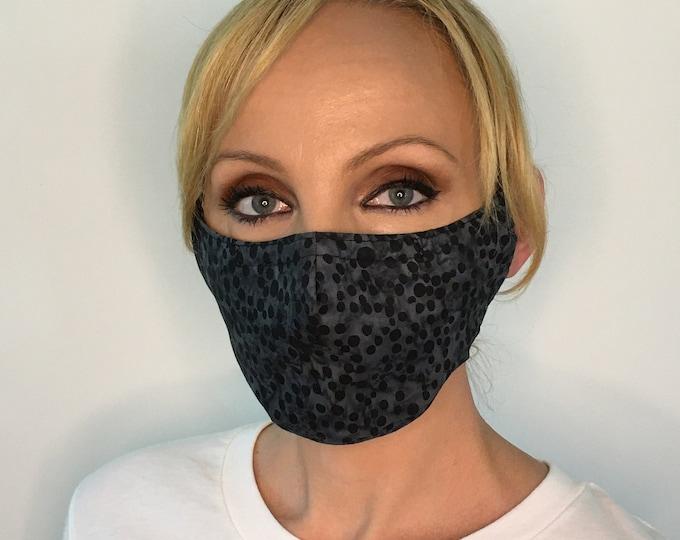 Face Mask For Women Black Dot | Filter Pocket | Triple Layer | Polypropylene/Cotton | Washable