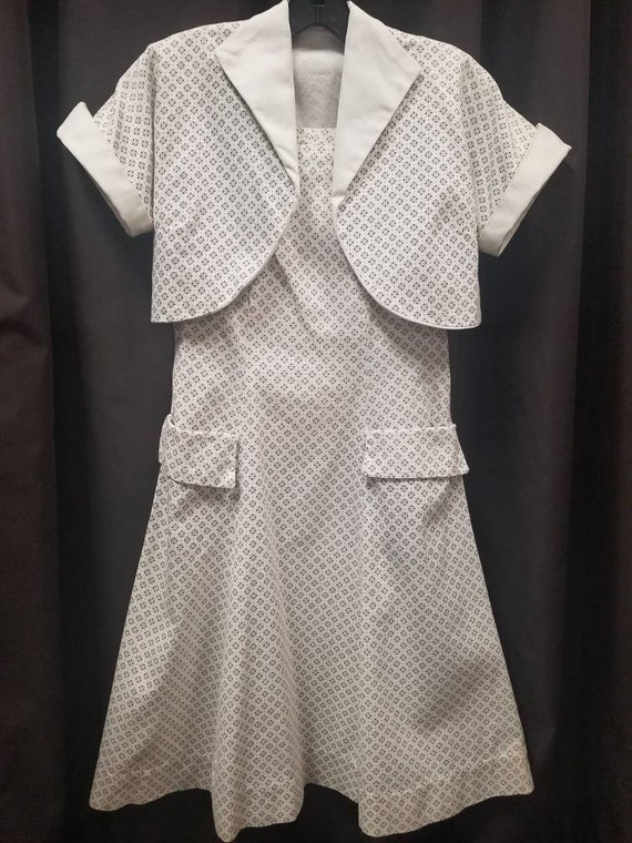 1930s 40s homemade short sleeve cotton dress with