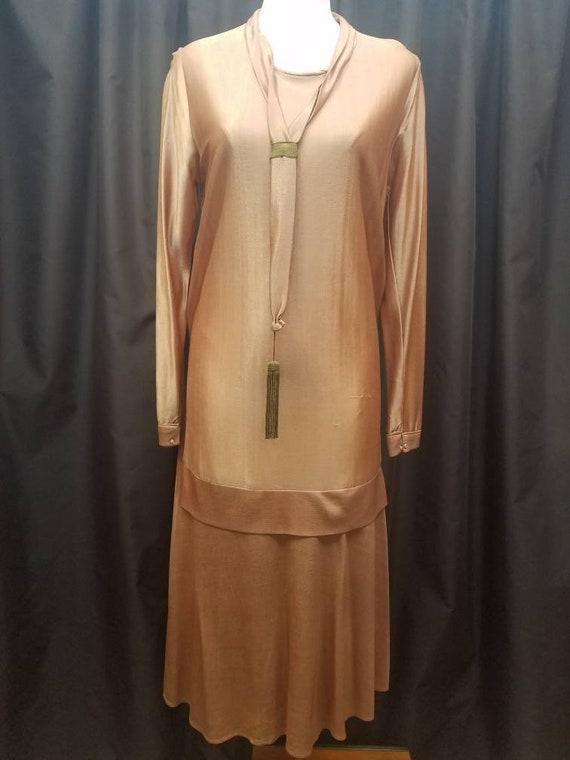 Beautiful Satin de Leen 1920s copper drop waist sp