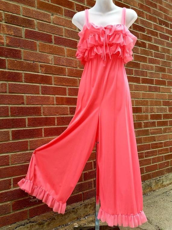 Vintage nylon bright Peach negligee jumpsuit size