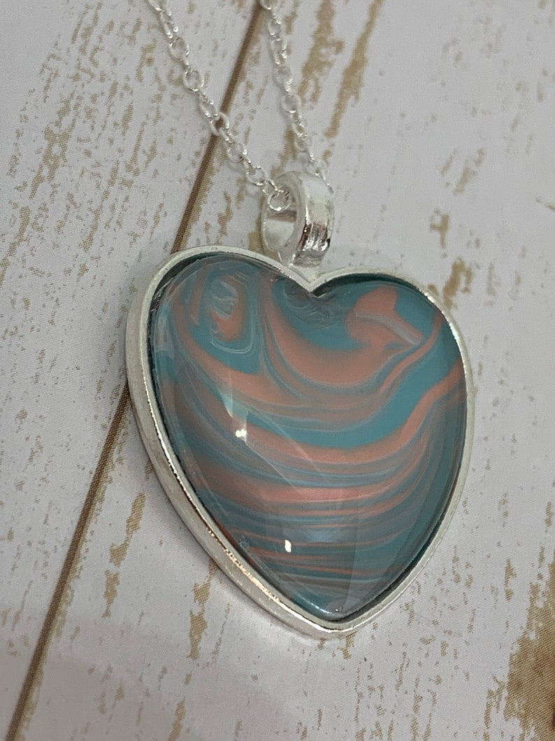 One of a Kind Jewelry Gift for Women Wearable Art Unique Heart Pendant Necklace for Women
