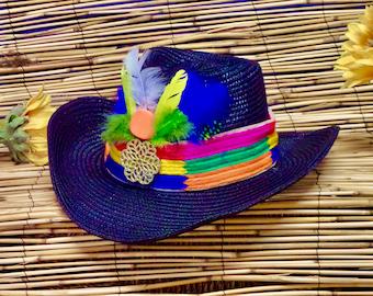Vintage 50s60s Tropical Sun HatGreen Pink Hawaiian Tiki Resort Style1960 Garden Party Hat Robinson/'s California 1950 Beach