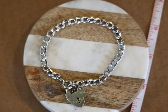 Sterling Bracelet with Vintage Heart Padlock