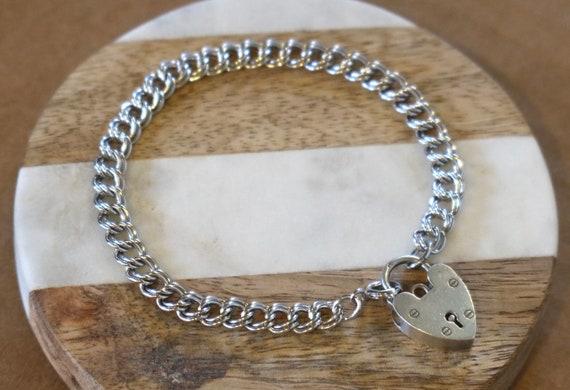 Vintage Heart Padlock Silver Bracelet
