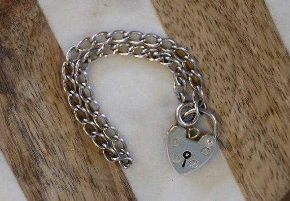 Vintage Sterling Bracelet with Heart Padlock