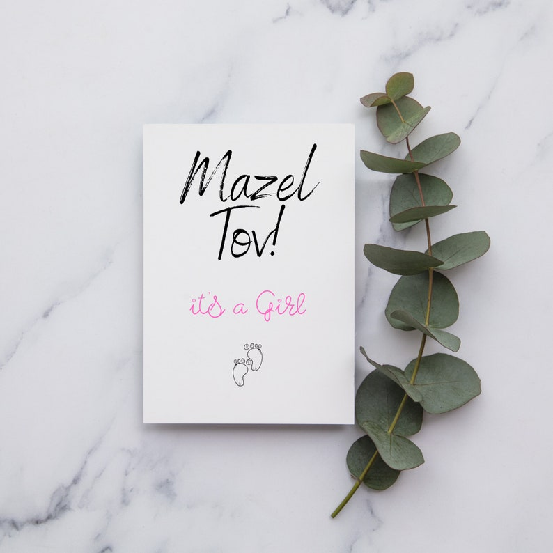 A6 or Square Card New Baby Card Mazel Tov Greetings Card New Baby Girl Card New Baby Boy Card