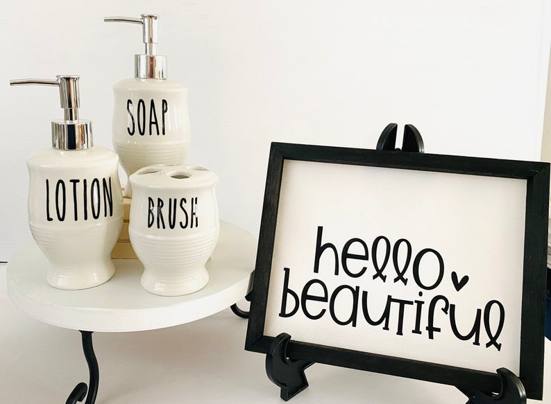 Gift Set of 4: Hello Beautiful Canvas and Accessories gift for her Rae Dunn Inspired Bathroom Accessories Reverse Canvas Sign