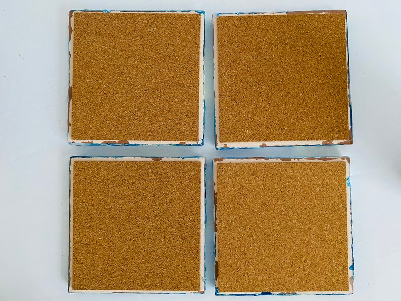 Blue Yellow Green Coaster Set Resin Coaster Set with holder Coffee Bar Accessory