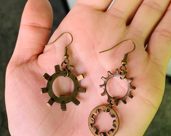 Recycled and Repurposed. symmetrical design Silver accent Di-gear Salvaged gear earrings