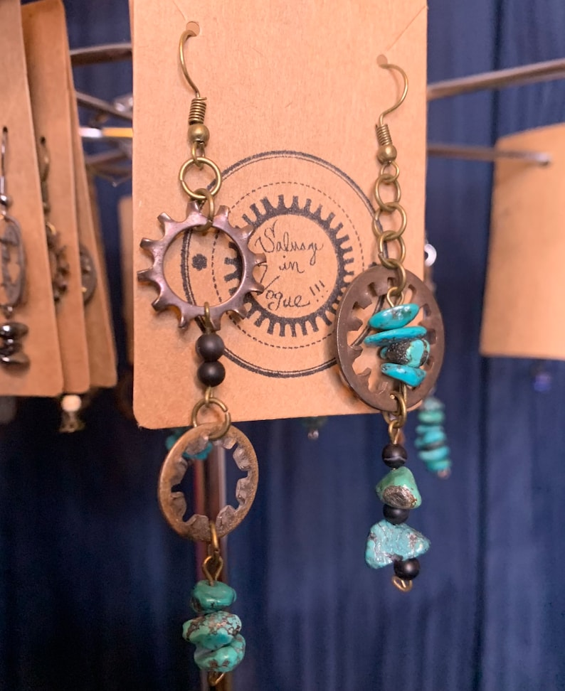 Salvaged gear earrings with Turquoise asymmetrical design