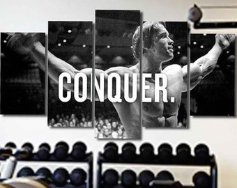 Conquer Arnold GYM Exercise Workout Motivation Canvas Poster Wall Art Print