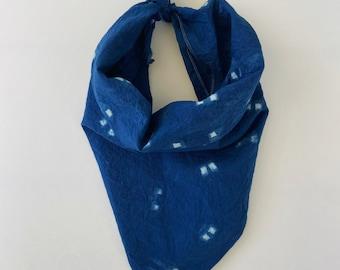 Shibori Indigo Bandana/Head Wrap - Hand Dyed - 100% Cotton - Bohemian