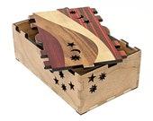 Red Small Wood Stash Box Keepsake Box Modern Box Art Deco Inlaid Marquetry Box