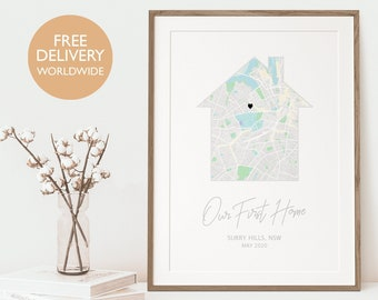 Our First Home, Housewarming Gift for Couple, New Home Gift, Personalised New Home Gift, Our First Home Map, First Home Gift, Home Art Decor