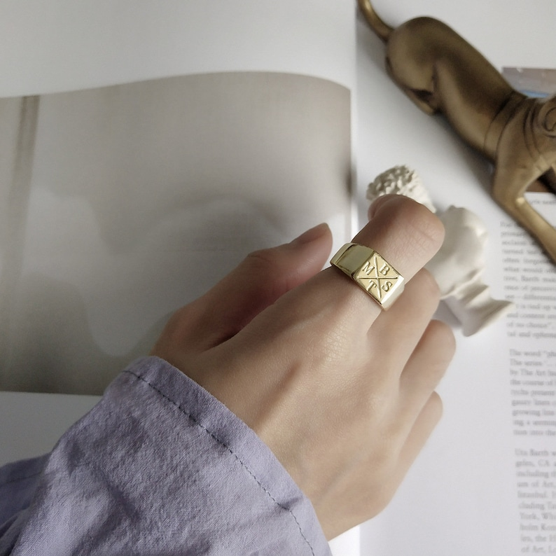 simple letter ring 925 sterling silver ring 18K gold-plated ring square ring