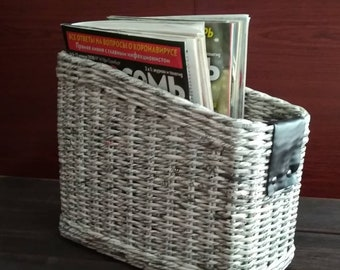 Desktop organizer for magazines. Magazine basket. Home office organizer. Storage of paper and documents. Mail storage.Basket for Newspapers.