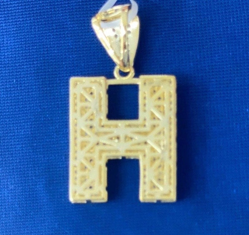 Icy 14k Gold Over 925 Silver Initial H Pendent