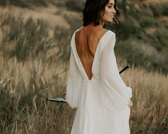 Simple wedding dress, Boho wedding dress, Open back ,Romantic, A-line dress, Long sleeve chiffon dress, Bridal gown ANTONIA